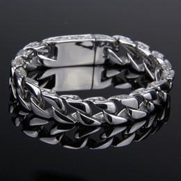 $enCountryForm.capitalKeyWord NZ - Mens Bracelet Chain 316L Stainless Steel Silver Wristlet Carved Designs Metal Link Chain Men'S Bracelets Support FBA Drop Shipping G823R