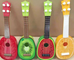 Wholesale Guitar Toy for kids Musical Instrument Mini Four String Guitar Simulation Fruit Guitar Baby Musical Educational Toys Plastic