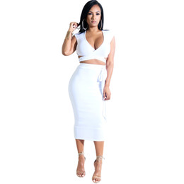 0fe7b1d7ae Fashion two pieces women's sets clothing sexy crop tops and pencil skirt v  neck crisscross strap two pieces outfits