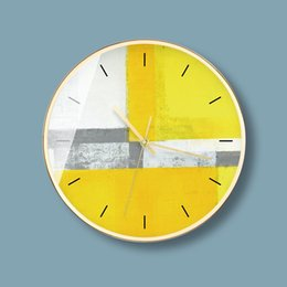 CloCk abstraCt online shopping - 12inch Nordic creative lemon yellow non Ticking Silent Wall Clock fashion postmodern abstract designer round mute wall clock battery operat