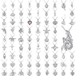 Venta al por mayor de Collar de perlas Jaula Colgante Love Wish Perla natural con diseño de mezcla de ostión perla Moda Hueco Medallón Collar de difusor de cadena de clavícula