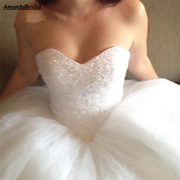 crystal beaded corset princess wedding dress UK - Amandabridal Crystal Sparkling Sequins Ball Gown Wedding Dresses 2019 Princess Corset Back Sweetheart Tulle Cheap Bidal Gown