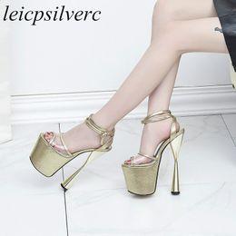 03a388da425ebc Women Sandals Shoe Super High Heel Peep Toe Pu Ankle Buckle Platform 2018  Summer New Sex Fashion Party Wedding Black Gold Silver