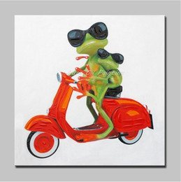 $enCountryForm.capitalKeyWord NZ - High Quality Handpainted & HD Print Modern Abstract Animal Art Oil Painting Frogs Ride Motorcycle On Canvas Wall Art Home Decor a158