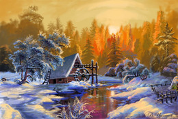 $enCountryForm.capitalKeyWord Australia - 16x20 inches Snow Forest in the Sunset DIY Paint On Canvas drawing By Numbers Kits Art Acrylic Oil Painting Frame