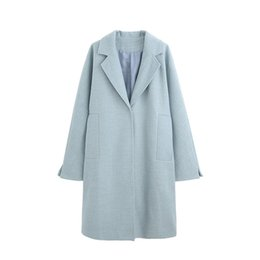 e497fed7ab063 US CA UK 2019 Automne Hiver Femmes Simple Classique Bleu Clair Manteau  Femme Manteau Femme manteau femme abrigos mujer