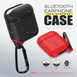 Bluetooth Earphone Case Canada - Silicone Airpods Bluetooth Earphone Case ShockProof Waterproof Strap Cover Anti-drop For iPhone X 8 7 plus Retailbox