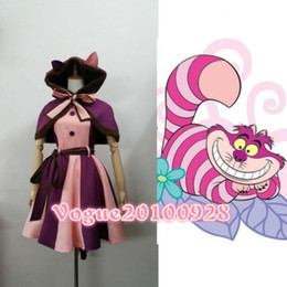 Cheshirre Cat Cosplay Traje Fancy Dress com cauda Alice no País das Maravilhas