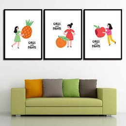 Art Canvas Prints Australia - Painting Minimalist Poster Wall Girl Fruit Nordic Style Canvas Pineapple Art HD Print Pictures For Home Wedding Decoration
