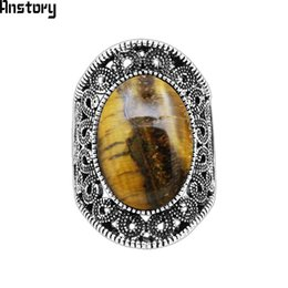 Discount vintage eye ring - Oval Natural Tiger Eye Stone Rings For Women Vintage Flower Design Antique Silver Plated Fashion Jewelry