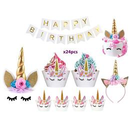 Wrapping Paper Gift Sets Australia - Unicorn Cake Topper & Rainbow Cupcake Wrappers Kit (Set Includes Horn, Ears, Eyelashes) + Happy Birthday Banner Decor | Unicorn Theme Decora