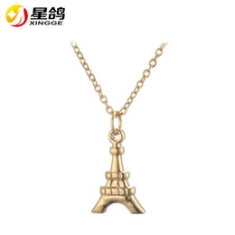$enCountryForm.capitalKeyWord Canada - European Stainless Steel Jewelry Eiffel Tower Pendant Necklace Original silver Gold-color Chain Collar Pendant Necklaces for girls bijoux