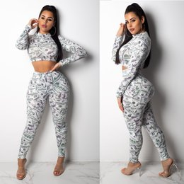 Cloth Materials Australia - Health Cloth Material Soft Thin Easy Dry Yoga Suit High Waist Sexy Dollar Printing Lovey Tracksuit Slim Pencil Pant Set S-XL HTS33