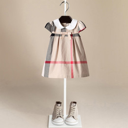 Chinese  Children's clothes Plaid Dress Kid's Cotton Bowknot Short Sleeved Dress Large Square Pattern Girl's Doll Princess Dress LC772 manufacturers