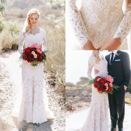 Modest Wedding Dress Sheath Lace Australia - Vintage White Lace Long Sleeve Sheath Wedding Dresses 2018 Cheap Modest V-neck Full length Mermaid Bridal Country Garden Wedding Gowns
