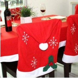 christmas santa chair Canada - 4 Pcs lot Christmas Chair Cover Snowflake Santa Clause Red Hat Christmas Party Chair Back Cover Decorations