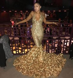 Discount low back halter evening gown - 2019 Arabic Gold Deep V Neck Sexy Prom Dresses With Rose Train Low Back Mermaid Evening Gowns Count Train African Party
