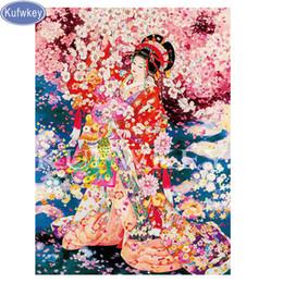 $enCountryForm.capitalKeyWord Canada - wholesale Diamond Embroidery japan woman sakura Kimono Rubik's Cube full Square Diamond Painting Crystal Mosaic Picture of Rhinestone