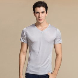 mens designer v neck t shirts NZ - Silk L Knit NEW Men's Short Sleeves Pure Casual Tee V Plain T-Shirt M XL XXL100% V-Neck 100% Knitted Mens Size Neckline Movts