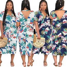 $enCountryForm.capitalKeyWord NZ - Women Floral Long Shirt Dresses Button V Neck Back Hollow Print Single Breasted Side Split Beach Casual Midi T Shirt Dress White Blue