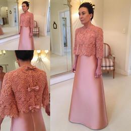 2acebee02f56 Silver mother bride dreSS cape online shopping - Vintage Lace Satin Mother  of Bride Groom Dresses