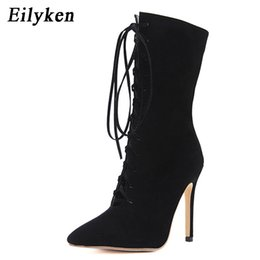 Discount sandals cover toes heel - Eilyken High Quality Gladiator Women Pumps Sandal Boot Pointed Toe Strappy Lace Up Pumps Shoes Sexy Woman Sandals 12CM B