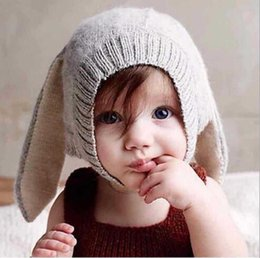 Children s Hats With Rabbit Ears Knitted Hats For Boys And Girls lovely hat  of plush Head Cap Thick Woolen Cap In Winter 01ee01df462d
