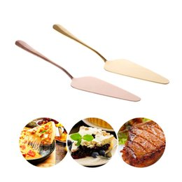 Gold Tools NZ - 1Pc Gold Rose Gold Stainless Steel Cake Shovel Knife Pie Pizza Cheese Server Cake Divider knives Baking Tools New C42