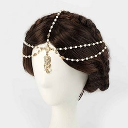 Head Band Boho Australia - 1PCS Fashion Indian Boho Hair Decoration Headbands white Beaded Head Hair Band Women Head Chain Jewelry Girls Gifts