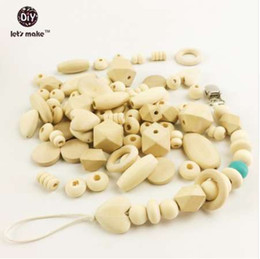 Organic Style Flowers UK - Let's Make 150pc Block Wood & Wooden Beads Diy Pacifier Clip Style Natural Wood Organic Baby Teether Beads