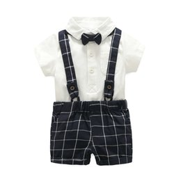 baby bib bow UK - Summer new children's clothing children's Tibetan blue plaid bib gentleman bow tie 3 sets of full moon clothing baby out clothing
