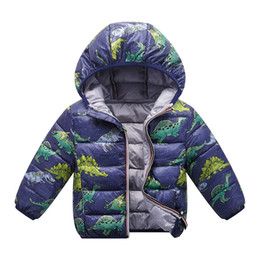 Baby Camouflage Jackets Australia - Dinosaur camouflage Winter Kids Boy Jacket Cotton Outerwear Baby Boy Padded Jacket Children Winter-Clothing Hooded Kids Coat