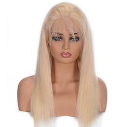 Indian Women Long Hair NZ - Long Straight Blonde #613 Human Hair Wigs 130% Density Women Lace Frontal Wig Wholesale Brazilian Indian Malaysian