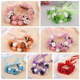 Wholesale Wedding Supplies Bridal Wrist Band Corsage Romantic Head band Headwear Flower Bridesmaid Artifical Flowers garland Wreath150pcs AAA876