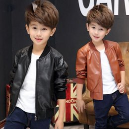 Brown Jacket For Boys NZ - 2018 New Kids Leather Jacket Black Brown PU Soft Comfortable Slim Warm Windproof Autumn Children Casual Coat For Big Boys