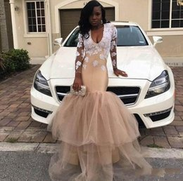 $enCountryForm.capitalKeyWord Australia - Champagne Mermaid Prom Dresses With White Appliques V Neck Long Sleeve Sweep Train Illusion Bodice Long Formal Evening Party Gowns Africa