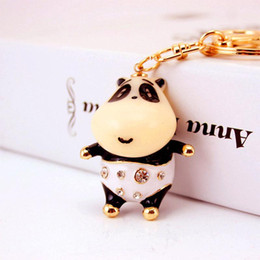 $enCountryForm.capitalKeyWord Australia - Cute Panda Bear Luxury Keychain - Cartoon White&Black Rhinestone Key Chain Holder Crystal Keychains Keyring For Bag Charm Porte Clef