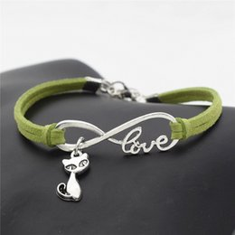 $enCountryForm.capitalKeyWord NZ - Simple Style Silver Plated Infinity Love Cat Fox Charm Bracelets Bangles Green Leather Suede Rope Jewelry Gift Banquet Wholesale Top Quality