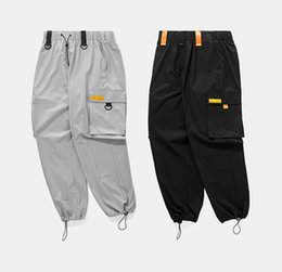 spring tracking UK - 2018 Spring Autumn Elastic Waist Patchwork Track Loose Pants Hip Hop Windbreaker Streetwear Trousers Harem Swag Cargo Pants