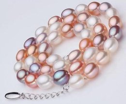 Pearl 17 Inch NZ - 7-8mm Natural South Sea Rice Shape White Pink Purple Mix Colour Pearl Necklace 17 Inch 925 Silver Clasp