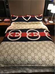 Discount duvet covers luxury Full Letter G Logo Print Bedding Set King Size Stain Bed Set 4pcs Fashion Duvet Cover Sets Bedsheet Home Textile