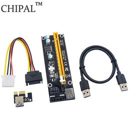 usb pci e riser 2019 - CHIPAL Black 0.6M PCI-E 1X to 16X Riser Card PCI Express Extender with USB 3.0 Data Cable   15Pin SATA to 4Pin IDE Power