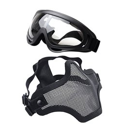 metal mesh half face mask 2018 - Windbreaker Glasses +Masks Adjustable Strike Steel Metal Mesh Lower Half Face Mask And UV400 Goggles Set For Hunting Pai