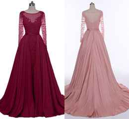 Heavy Red Evening Gowns NZ - 2019 High Quality Wine Red Evening Dresses Heavy Handmade Long Sleeve Dance Party Dresses bean Paste Long Tail Prom Dresses HY290