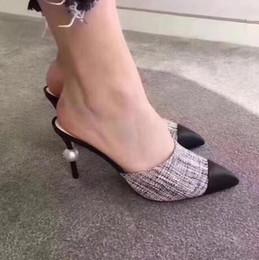 Designer Donna Pelle di capra Grosgrain Décolleté in vera pelle Tacco alto Scarpe eleganti Lady Beige Bianco Nero Scarpe singole Scatola originale + logo in Offerta