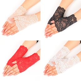 White summer gloves online shopping - Summer Semi Finger Gloves Outdoors Driving Anti UV Thin Lace Cotton Black And White Solid Color Fashion Glove cz hh