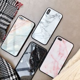 Black tempered glass for iphone online shopping - Fashion New Marble Tempered Glass Phone Case For Apple iPhone Pro max X All inclusive Case soft Edge Cover For iPhone Xs max XR Coque