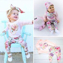 $enCountryForm.capitalKeyWord Australia - POP Newborn Baby Boy Girl Autumn Long Sleeve Print Floral T Shirt+Long Pants +Headband Outfits casual Clothes 0-24M