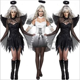 sexy black halloween dresses 2019 - Sexy Adult Vampire Costume Halloween Party Witch Darl Scary Cosplay Dress Fancy Club wear Adult WhiteAngel Ghost Bride C