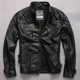 Motorcycle jackets usa online shopping - Mens Motorcycle clothing outwear short jacket back with Skull Angel printing cowhide Genuine leather USA UK